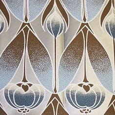 Tiffany Schiffany wallpaper from Meg Braff Designs in chocolate and blue on matte silver Vienna Woods, Bamboo Garden, Vintage Fans, City Wallpaper, Streamers, Swirls, Interior Decorating, Decorating Ideas, Art Nouveau
