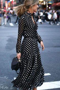 Women Black Plus Size Vintage Bohemia Vacation Maxi Dress Mode Outfits, Dress Outfits, Fashion Dresses, Fashion Clothes, Style Clothes, Lovely Dresses, Trendy Dresses, Awesome Dresses, Black Polka Dot Dress
