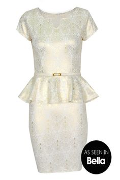 Womens Fawn Floral Peplum Dress with Belt in White | Pop Couture