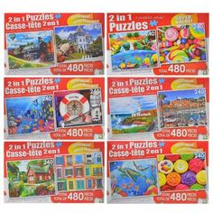 2-in-1 Jigsaw Puzzles, 480-pc. Boxes (Set of 4)