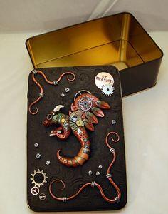 Ooak Polymer Clay Steampunk Dragon Tin Box by TammyPryce on Etsy, $30.00 Etsy