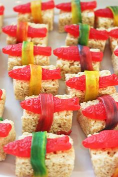 Candy sushi at a Ninja Birthday Party!  See more party ideas at CatchMyParty.com!