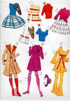 Whitman WORLD-OF-BARBIE paper dolls, 1971 Mod-Era