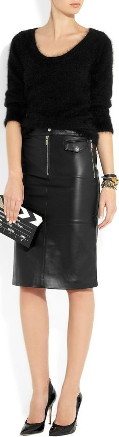Michael Kors ● Zipped leather pencil skirt