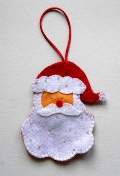 Holiday christmas santa decoration,red felt Father Christmas,handstitched santas,xmas tree decorations,yuletide santa,HANDMADE BY FRALINE by fraline on Etsy