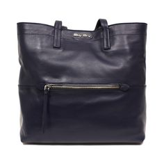 38c691a14ff7 Miu Miu Navy Leather Tote Bag authentic Made in Italy Navy calf leather  Silver hardware Zipper Compartments on both sides Interior zipper