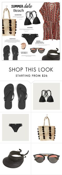 """""""Summer Date: The Beach"""" by alessandra-mv ❤ liked on Polyvore featuring Havaianas, H&M, Abercrombie & Fitch, Indego Africa, Janessa Leone, Christian Dior, beach and summerdate"""