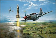 Rocket Hunters by Heinz Krebs  A pair of North American Mustangs from the 1st Scouting Force, 8th Air Force, with P-51 D Chip flown by Merri...