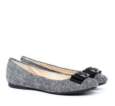 Black & White Fabric Flats with Jeweled Bows.