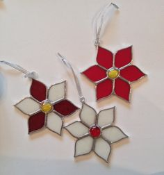 Stained Glass Poinsettia Suncatcher/Ornament by QTSG on Etsy
