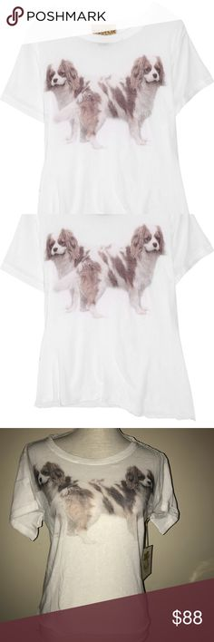 """🆕 Wildfox white label box hunt tee size L NWT Wildfox Couture White Label box hunt tee size Large in clean white with double dog graphic on the front. Length is approximately 20"""" - the hem is asymmetrical. Fabric Content: 90% Cotton / 10% spandex. Super soft! please view all photos and ask any questions you may have prior to purchasing 🐶 Wildfox Tops Tees - Short Sleeve"""