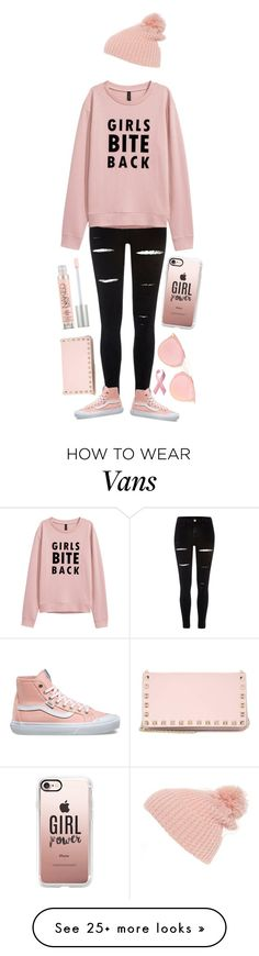 """Girl Power(Breast Cancer Awareness)"" by addiosamigos on Polyvore featuring River Island, Vans, Casetify, Cara, Urban Decay, Christian Dior and Valentino"