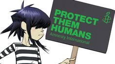 Noodle from Gorillaz shows that even cartoon characters want to 'Protect Them Humans'.