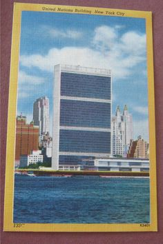 Vintage Linen Postcard United Nations Building New York City