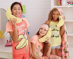 Banana-theme sleepwear and accessories especially designed with her bunch of besties in mind.