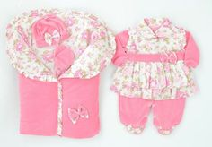 Saída De Maternidade C/ Porta Bebê Rosa - Para Meninas