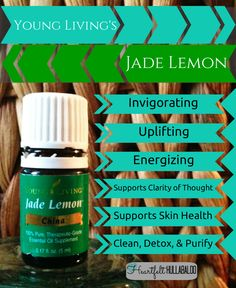 Young Living's Jade Lemon. Invigorating, uplifting, energizing, supports clarity of thought, supports skin health, cleans, detoxing, and purifying. #essentialoils #undertwentydollars #heartfelthullabaloo