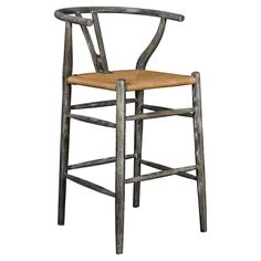 Cable Modern Scandinavian Limed Grey Rope Counter Stool | Kathy Kuo Home