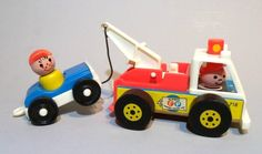 Fisher Price Little People tow truck & car