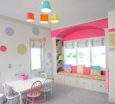 Cool lighting goes along with the shades used in the girls' playroom http://www.decoist.com/2013-09-27/kids-playroom-design-ideas/