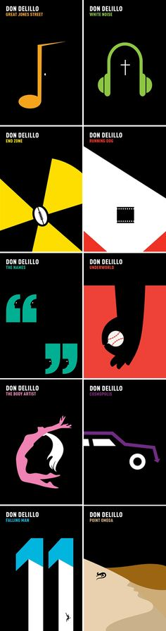 Don DeLillo's backlist, art directed and designed by It's Nice That with illustrations by Noma Bar. Picador 2011.