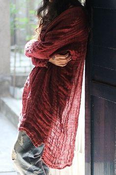 Khaki/Red/Dark Green TShirt Women Blouse Linen by fashiondress6, $82.00