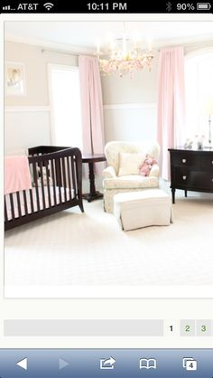 Nursery, i love that the base line is neutral, then they added pops of pink that could easily be swapped for blue.