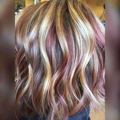 Hair Highlights - Blonde highlights and red copper lowlights. Fall haircolor. Hair by Rachel Fife @ Sara Fraraccio Salon in Akron, Ohio
