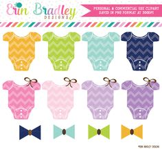 Chevron Baby Tees and Bow Ties Clipart – Erin Bradley/Ink Obsession Designs