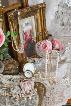 pearls lace shappy chic decor | roses, pearls and lace, oh my...I like the idea of small gilt framed ...