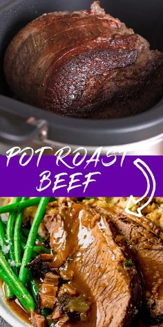 Juicy tender roast beef mashed potato vegetables and a rich meaty gravy - all cooked in your slow cooker. Slow Cooker Beef Joint, Slow Cooked Roast Beef, Tender Roast Beef, Cooking Roast Beef, Spiced Beef, Slow Cooker Roast, Roast Beef And Mashed Potatoes, Roast Beef Gravy, Turkey Gravy