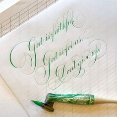 Had to pull out my green because I detect just a smidge of Spring in the air. Copperplate Calligraphy, Calligraphy Handwriting, Calligraphy Alphabet, Penmanship, Hand Lettering Alphabet, Hand Lettering Quotes, Creative Lettering, Beautiful Lettering, Beautiful Calligraphy