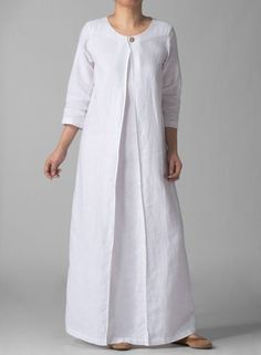 Discover thousands of images about Sleeve Linen Long White Dress Abaya Fashion, Modest Fashion, Boho Fashion, Fashion Dresses, Gothic Fashion, Simple Dresses, Beautiful Dresses, Casual Dresses, Plus Size Kleidung