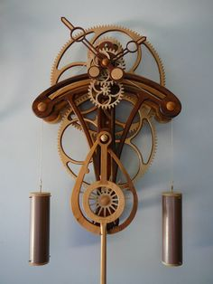 steampunk clock - Clayton Boyer will sell you woodworking plans for building… Casa Steampunk, Design Steampunk, Steampunk Clock, Wooden Gear Clock, Wooden Gears, Wood Clocks, Metal Clock, Woodworking Skills, Woodworking Projects