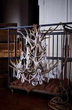 Ralph Lauren Home's Stag Chandelier combines naturally shed antlers with crystal to define rustic glamour