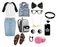 """First day of school outfit"" by tal-talm ❤ liked on Polyvore featuring Paige Denim, Birkenstock, Betsey Johnson, Monsoon, Minnie Grace, Casetify, H&M, Eos and Abercrombie & Fitch"
