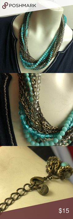 Ann Taylor Loft Turquoise & Antiqued Gold Choker 12 Strands of Turquoise and Clear Beads. Antiqued Finish Gold Tone  Great for the Upcoming Spring & Summer LOFT Jewelry Necklaces