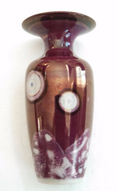 Miniature ceramic bud vase, unique metallic glaze, burgundy & white, signed by tlgvintageart on Etsy