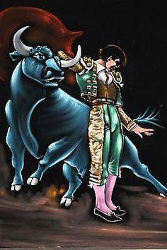 "Vintage Matador Painting on Black Velvet Felt. 37"" long x 31"". great condition!!"