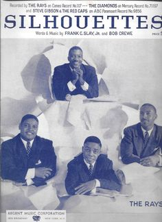 THE RAYS Doo Wop Classic 1957 Sheet Music SILHOUETTES