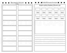 Craft Supply Planner Printable Set  Craft Planners And Sewing