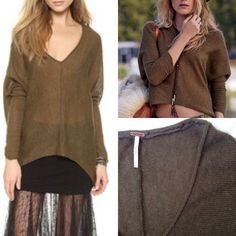 FREE PEOPLE Sadie Dolman V Neck Sweater Dropped shoulder seams and long, fitted sleeves lend a refined, slouchy fit to this marled olive green Free People knit sweater. Rolled edges and V neckline. 39% wool/32%/22% nylon/ acrylic/7% alpaca. Hand wash or dry clean. Length: 23.5in from shoulder. Great used condition, but fibers are fuzzy and some pilling from wear. Free People Sweaters