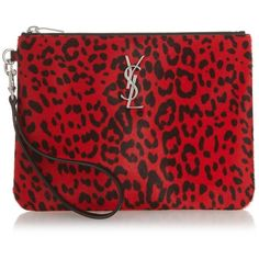 Saint Laurent Monogram leopard-print calf-hair pouch ($895) ❤ liked on Polyvore featuring bags, handbags, clutches, black red, red pouch, leopard print handbags, red purse, leopard print clutches and monogram pouch