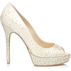 Jimmy Choo Salt Ivory Satin Peep Toe Pumps with Crystals ($1,395) ❤ liked on Polyvore featuring shoes, pumps, heels, sapatos, high heels, ivory, jimmy choo shoes, bridal shoes, ivory pumps and ivory wedding shoes