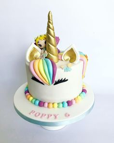 Unicorn fairy cake by Olivia's Cake Boutique Fairy Birthday Cake, 6th Birthday Cakes, Birthday Cake Girls, Unicorn Birthday Parties, Bolo Fondant, Sparkle Cake, Fantasy Cake, Fairy Cakes, Disney Cakes