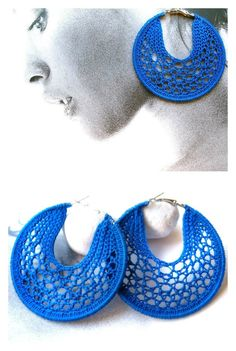 China blue fine crocheted hoop earrings 70 mm by HoperalabJewels