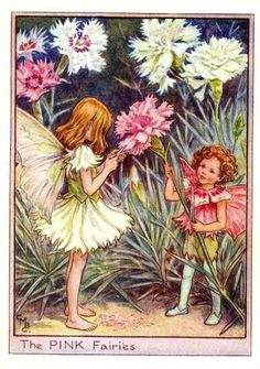 Flower Fairies: The PINK FAIRIES Vintage Print by Cicely Mary Barker This is a genuine, original, pretty vintage print rescued from a disband book; one of the Flower Fairies series. Cicely Mary Barker, Illustration Photo, Fantasy Illustration, Illustrations, Illustration Flower, Flower Fairies, Fairies Garden, Vintage Fairies, Vintage Art