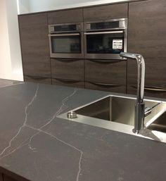 Flush Mount sink in Dekton Kelya Kitchen Interior, Kitchen Decor, Kitchen Design, Open Plan Kitchen Living Room, Kitchen And Bath, Kitchen Worktop, Kitchen Countertops, Room Layout Planner, Small U Shaped Kitchens