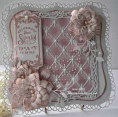 Card made by Pam Using the new Diamond Background Die by Memory Box Shabby Chic Karten, Shabby Chic Cards, Wedding Anniversary Cards, Wedding Cards, Diamond Background, Memory Box Cards, Spellbinders Cards, Beautiful Handmade Cards, Marianne Design