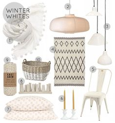 Winter Whites- a roundup of my favorite snow-colored products for your home.